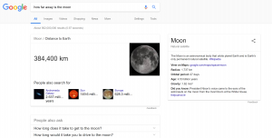 Google Home search for how far away is the moon