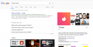 Google Home search for what is tinder